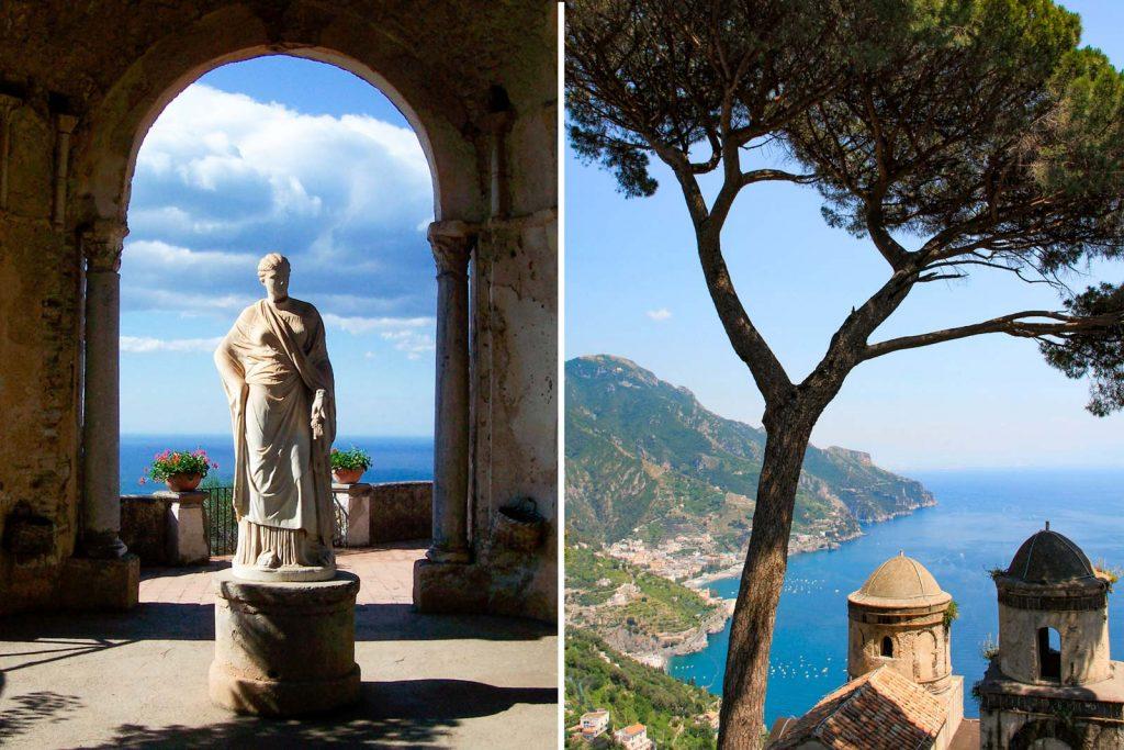 Villa Cimbrone and view of Amalfi Coast from Villa Rufolo