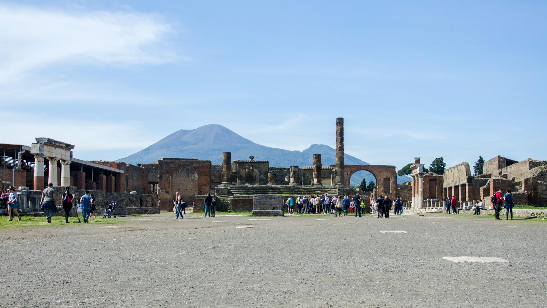 Ruins of Pompeii with vesuvius in background